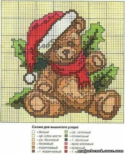 Вышивка крестом медвежонок